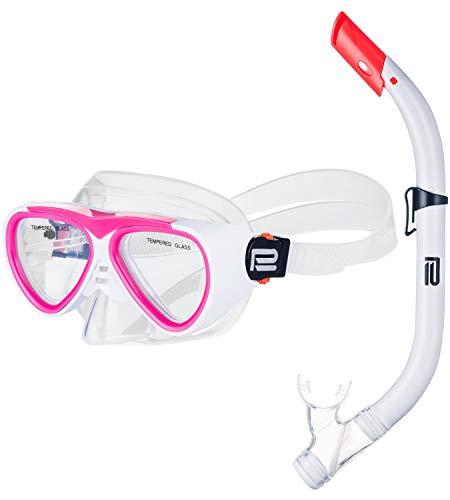 Prosske Schnorchelset CATFISCH Schnorchelmaske Taucherbrille Anti-Fog aus Gehärtetem Glas und Dry Top Schnorchel Kinder und Jugendliche - Weiss-rosa