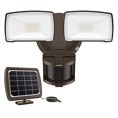 LEPOWER Solar LED Security Light Motion Outdoor, 1000LM Solar Motion Sensor Light, 2Head LED Flood Light Easy to Install, 5500K, IP65 Waterproof Exterior Security Lights for Backyard(Brown)