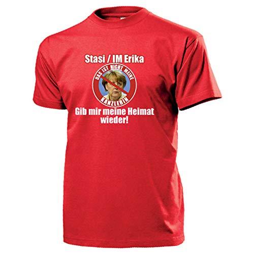 STASI Merkel IM Erika Kanzlerin Bundeskanzlerin Demo Rücktritt T Shirt #17486, Größe:XXL, Farbe:Rot