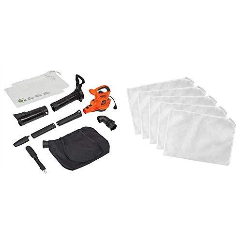 BLACK+DECKER 3-in-1 Electric Leaf Blower/Mulcher Kit with Leaf Blower Vacuum Bags, Disposable (BV6000 & BV-008)