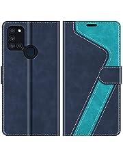 MOBESV Funda para Samsung Galaxy A21s, Funda Libro Samsung A21s, Funda Móvil Samsung Galaxy A21s Magnético Carcasa para Samsung Galaxy A21s Funda con Tapa, Azul