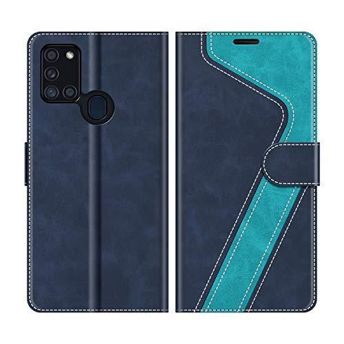 MOBESV Handyhülle für Samsung Galaxy A21s Hülle Leder, Samsung Galaxy A21s Klapphülle Handytasche Case für Samsung Galaxy A21s Handy Hüllen, Modisch Blau