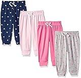 Amazon Essentials - Pack de 4 pantalones con cintura elástica para niña, Solid, Heart, Navy & Grey, US 24M (EU 86–92)