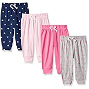 Amazon Essentials Baby Girls 4-Pack Pull-on Pant, Solid, Heart, Navy & Grey, 0-3M