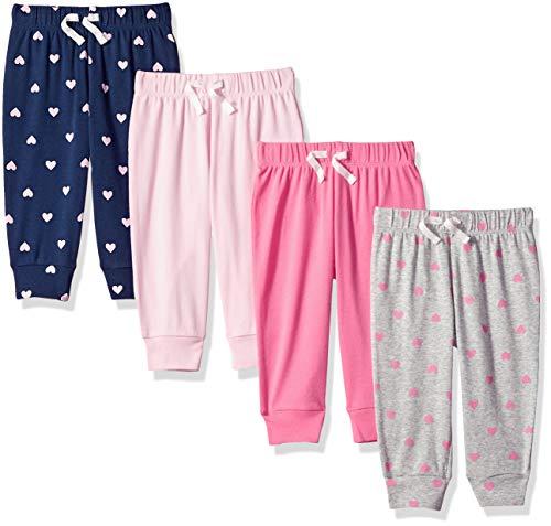 Amazon Essentials - Pack de 4 pantalones con cintura elástica para niña, Solid, Heart, Navy & Grey, US 18M (EU 80–86)