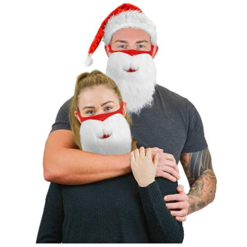 IRRIT 1PC Santa Claus and Beard Integrated face_mask, Washable Cotton Covers with Elastic Earloop for Coronàvịrụs Protectịon, Fοgproof Breathable Covering, for Women Men Outdoor Sports