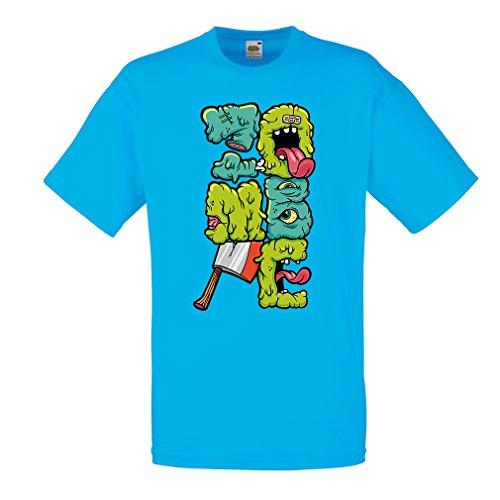 Camisetas Hombre Zombi Regalo del Friki Idea para un Regalo Inusual (Medium Azul Multicolor)