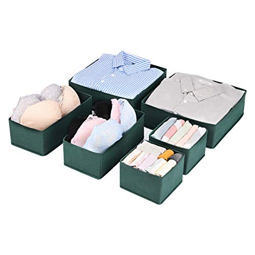 MaidMAX Set di 6 Organizer Cassetti Biancheria, Divisori per Cassetti Separatori per Cassetti, Organizzatore Cassetti Tessuto per Biancheria Intima, Calze e Cravatte, Verde Scuro