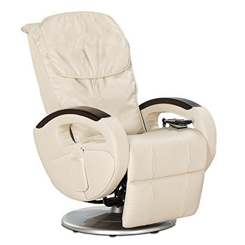 maxVitalis Massagesessel Shiatsu-Massage, Relaxsessel mit Liegefunktion, Massagefunktion, elektrisch verstellbar, Drehbar, 6 Massageprogramme, Körperscan (Creme)