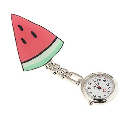 joyMerit Reloj de Bolsillo con Clip de Enfermera de Sandía Y Flor de Fresa de Color Caramelo Pequeño 1pc - d