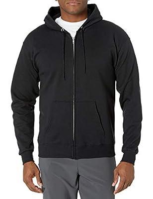 Hanes Men's Full Zip EcoSmart Fleece Hoodie, Black, X-Large
