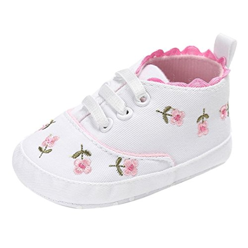 LNGRY Newborn Baby Girls Floral Crib Shoes Soft Sole Anti-Slip Canvas Sneakers (White, 0-6 Months)