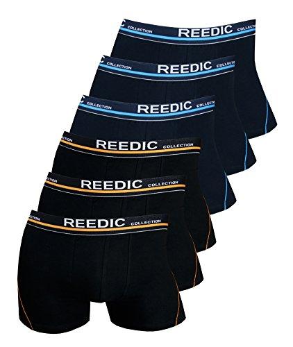 Reedic Herren Boxershorts Baumwolle 6er Pack, Größe XXX-Large (3XL), Farbe je 3X dunkelblau, schwarz