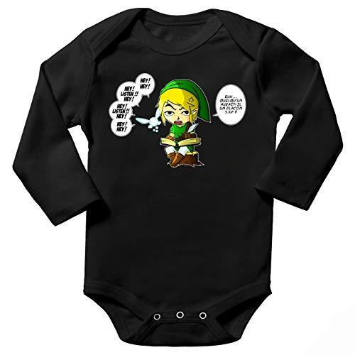 OKIWOKI Baby-Body, langärmlig, Schwarz, Zelda Parodien Link und die Fee Navi: eine praktische Aber anmutige Fee (Parodie Zelda) Gr. 80, Schwarz