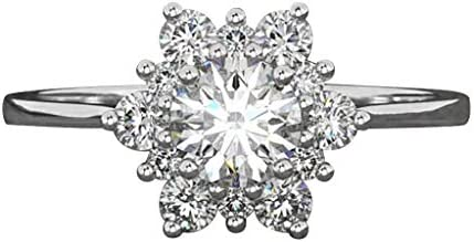 ZQISHMAO 18K White Rose Gold Plated Cubic Zirconia Snowflake Flower Ring for Women Girls CZ Jewelry Fashion Flower Ring 3 Style