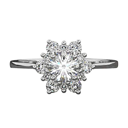 Thenxin Cubic Zirconia Rings Women's CZ Snowflake Simulated Diamond Alloy Jewelry Gift Bridal Wedding Engagement Ring(Silver,10)