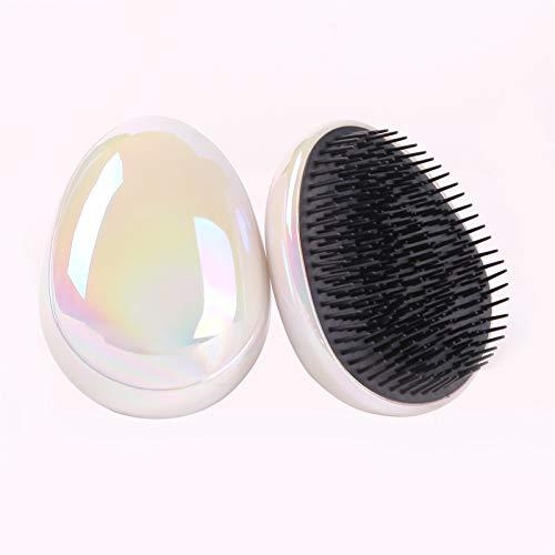 Anti statischer Salon Ei Form Glitzer Blingbling Massage Haarbürste Gewindes Haar Pinsel Styling Werkzeuge Haar Detangling Glättungskamm (Color : Beige)