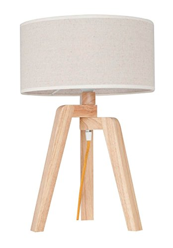 Homemania tafellamp Tris kleur eiken, wit van hout, PVC-paar, woonkamer, keuken, slaapkamer, kantoor, E27, eenheidsmaat