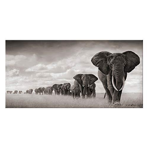 OUER Cuadro en Lienzo, Impresión de la Lona Elefante Africano Animal Decorativo Arte de la Pared Pintura Decoración para el hogar Sala de Estar Cartel de impresión Sin Marco Picture Core,70 * 140cm