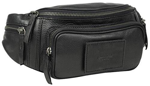 Preisvergleich Produktbild Hüfttasche Gürteltasche Bauchtasche Festivaltasche Vintage Schwarz Leder