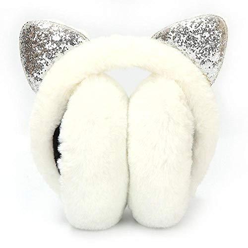 SOROPTLE Pailletten Opvouwbare Kat Oor Oordopjes Vrouwen Pluche Oor Warmer Muffs Glitter Hoofdband 3D Oorlap
