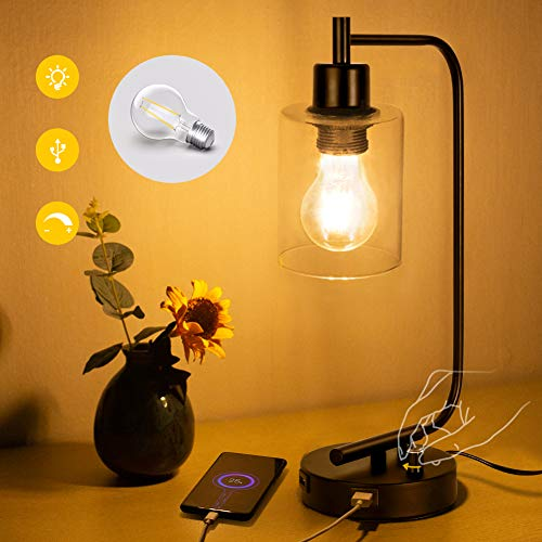 Industrial Table Lamp,Bulb Included Dual USB Port Iron Lantern Glass Shade Style Dimmable Bedside Desk Lamp for Bedroom, Office,Living Room, Dressing Table,Hotel Farmhouse Desk Lamp USB