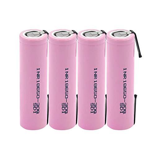 HTRN Batería De 3.7v 3000mah Inr 18650 30q, Batería De Placa De níQuel Soldada con AutóGena De La Batería De Litio Recargable Usada para La Linterna 4PCS