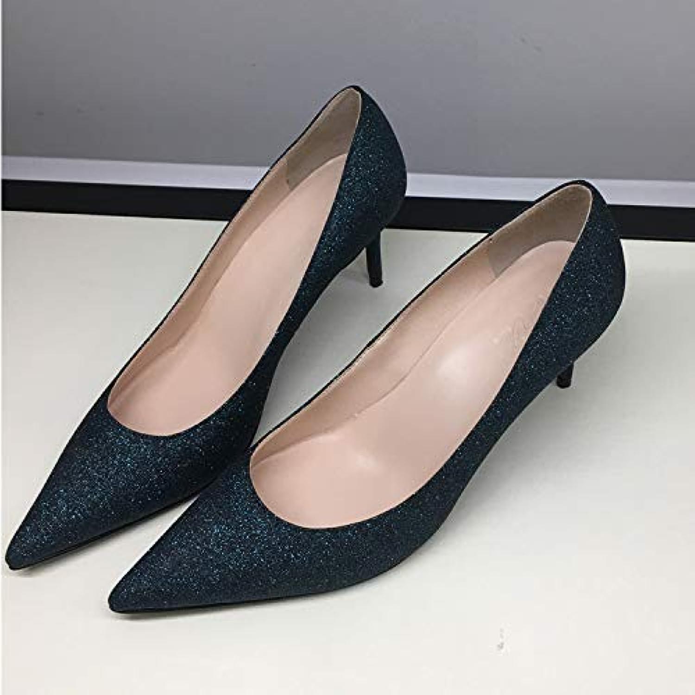 HOESCZS Hochhackige Damenschuhe Frühlingsmode Glitt Graue Pailletten Komfortable Stiletto Spitze Low-Cut Einzelne Schuhe Frauen