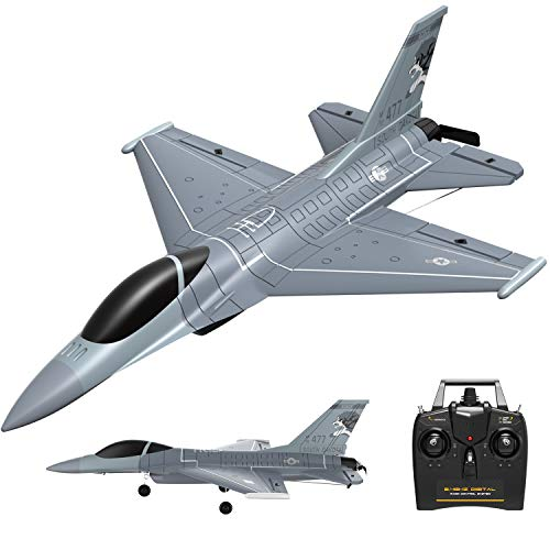 VOLANTEXRC 4 Channel Remote Control Airplane 2.4GHz RC Jet F-16 Fighting Falcon RC Aircraft Fighter Ready to Fly with Xpilot Stabilizer System, One Key Aerobatic Perfect for Beginners (761-10)