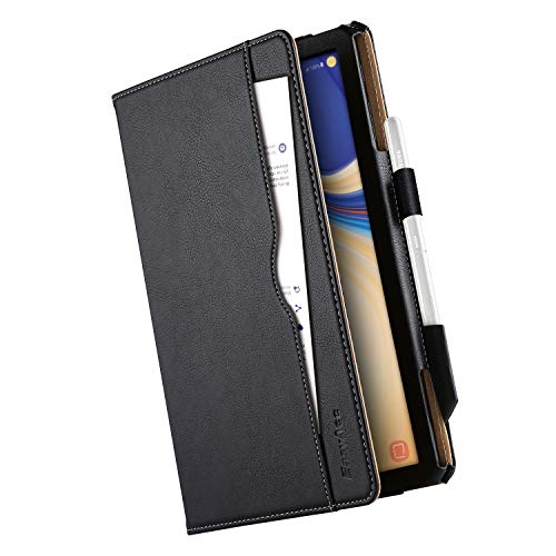 EasyAcc Case for Samsung Galaxy Tab S4 with S Pen Holder, [360 Degree Rotating/ 100% PU Leather Made by Hand/No Plastic Content] and Document Card Slots, with Auto Wake/Sleep, Durable to Use - Black