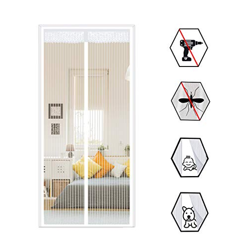 Mosquitera de malla magnética para puerta de hasta 90x 210cm, blanco