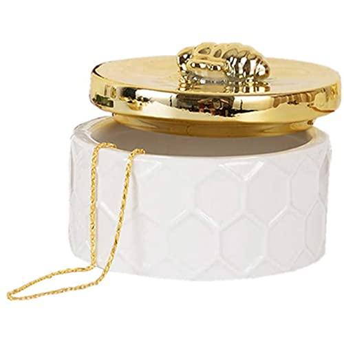 Cerámica Redonda Caja De Joyería Con Bee Lid,Pequeño Portátil Caja De Arrugas,Moda Decorativa Organizador Maquillaje Para Las Niñas Anillos Pendientes Collar Collar-Blanco 10.8x8cm(4x3inch)