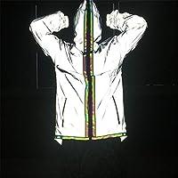 ファッショナブルな女性の反射服 リフレクティブレインジャケットジャケット高視界ジャケットランニングサイクリングジャケットファッション 快適な体験 (色 : Non zipper, Size : L)