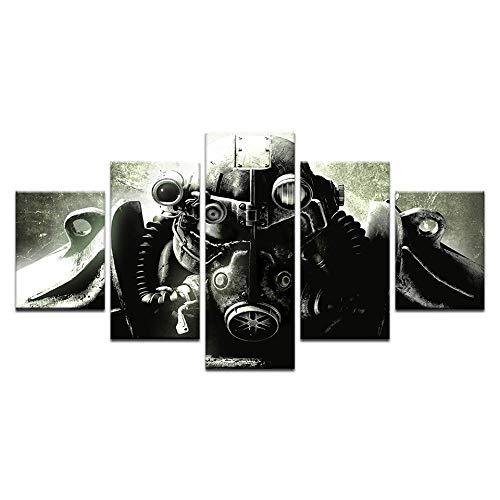 13Tdfc Cuadros Decor Salon Modernos 5 Piezas Lienzo Grandes XXL Murales Pared Hogar Pasillo Decor Arte Pared Abstracto Armadura De Soldado De Fallout 4 HD Impresión Foto 150X80Cm Regalo
