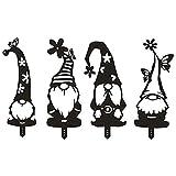 4 Stück Acryl Zweig Gnome Dekoration, Zweig Gnome Silhouetten Statuen für den Garten, Gnome Einlegen von Karten für Gartenhöfe, Dekorative Kunstwerke Hinterhof Kunst