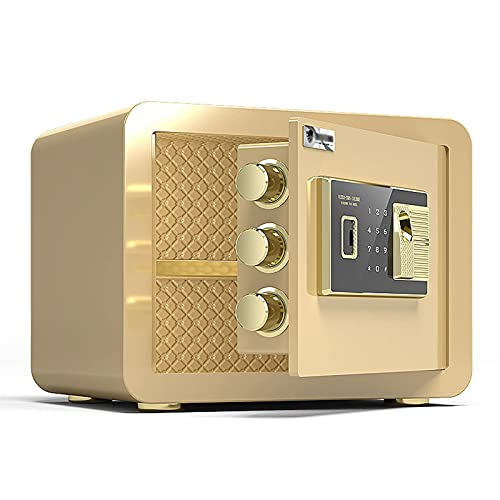 Caja Fuerte de Acero ignífugo para el hogar, Caja de Seguridad electrónica antirrobo, gabinete de Almacenamiento con Bloqueo de contraseña de Huellas Dactilares, para Oficina en casa