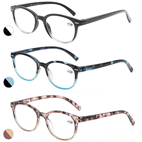 Reading Glasses 3.5 Women 3 Pack Spring Hinge Fashion Round Stylish for Reading with Pouch