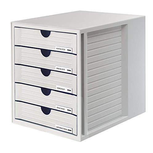 HAN Schubladenbox SYSTEMBOX 1450-11 in Lichtgrau – Ordnungsbox DIN A4 – Aufbewahrungsbox mit geschlossenen Schubladen