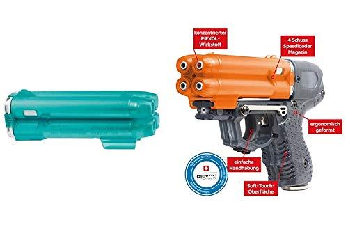 PIEXON Pfefferspraypistole JPX6 mit 4 Schuss Speedloader + Trainingsmagazin