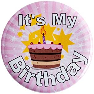 It s My Birthday Button Pink 2 1 4 It s My Birthday Happy Button Party Birthday Pins for Adults product image