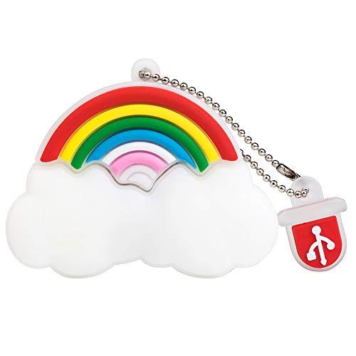 BorlterClamp 32GB USB Stick Netter Karikatur Regenbogen Wolke Muster Speicherstick, Geschenk für Studenten und Kinder