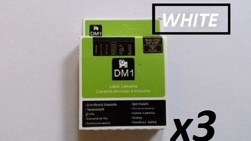 Etikettierband, kompatibel mit DYMO D1-Serie, 3 Stück 45810, 19 mm x 7 m, Weiß auf Transparent