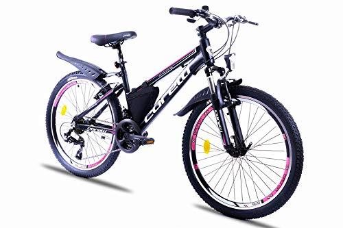 Corelli Twister Mountainbike 20 Zoll, 24 Zoll oder 26 Zoll mit Aluminium-Rahmen, V-Brake, Shimano 21 Gang-Schaltung, Gabelfederung, als Damen-Fahrrad, Mädchen-Fahrrad, Kinder-Fahrrad. (pink, 24.0)