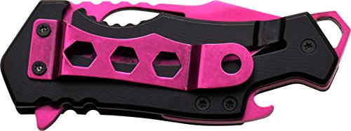 MTech USA MT-A882PK Spring Assist Folding Knife, Pink Blade, Black Handle, 3-Inch Closed