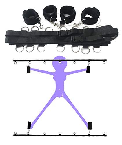 SM Set Bondage 6 Accessori per Bondage Kit bondage Regolabile per Adulti (Black)