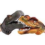 gaeruite 2pcs Guanti di Dinosauro a Mano in Gomma Morbida con fantoccio per Bambini...