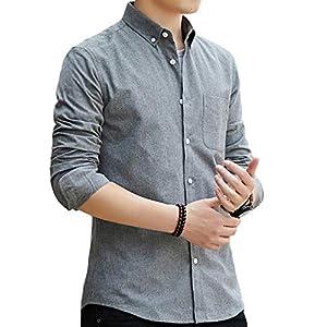 SSHYDT シャツ メンズ 長袖 オックスフォードシャツ 無地 綿 ビジネス カジュアル 大きいサイズ (L, グレー)