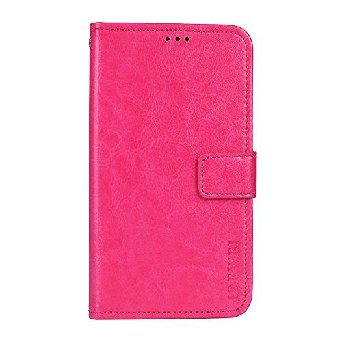 Funda para Umidigi One MAX Case Wallet de Cuero PU Cartera con la Ranura para Tarjetas y Kickstand Función Carcasa para Umidigi One MAX(Rosa roja)