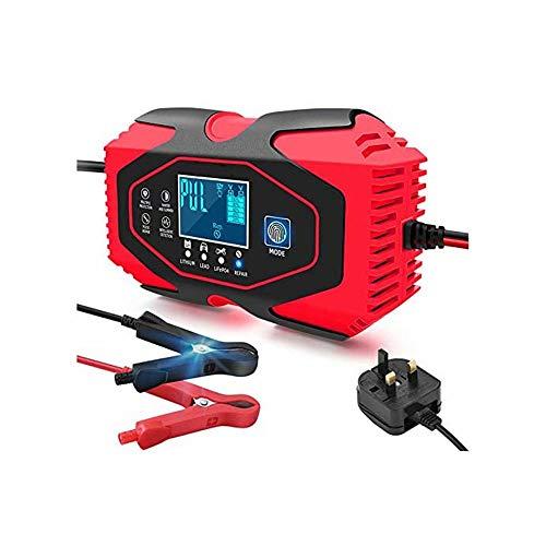 CUIJU Cargador de batería de Coche y Motocicleta de 12V24V Cargador de batería de reparación Inteligente (Rojo)