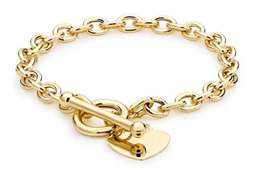 Genuine 9ct Yellow Gold Oval Belcher Heart Tag T-Bar Bracelet 19cm/7.5' Brand New